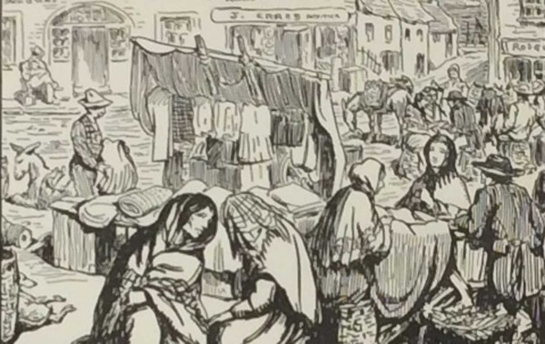 Antique print Jack B Yeats from 1912 titled A June Fair, after a set of drawings that Yeats did looking at life in the West of Ireland. Very rare.