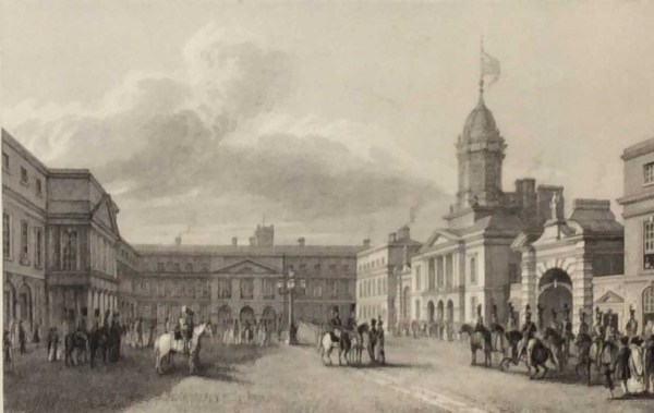 Antique print from 1832 of the Great Court Yard, Dublin Castle. The print was engraved by Edward Goodall and is after a drawing by George Petrie.
