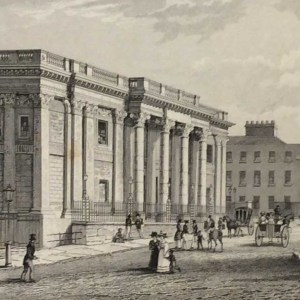 Antique print from 1832 of the Royal Exchange Dublin, which is now City Hall. The print was engraved by C I Smith and is after a drawing by William Bartlett.
