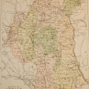 Antique map published in 1883 of County Armagh. The map breaks the county down into it's historical baronies including Oneilland West, Oneilland East, Lower Orior, Armagh, Tiranny, Upeer Fews, Upper Orior.