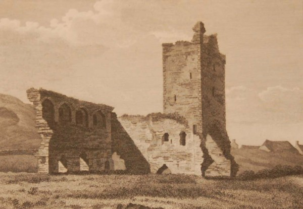 1797 antique print a copper plate engraving of the Abbey at Naas, County Kildare, Ireland.