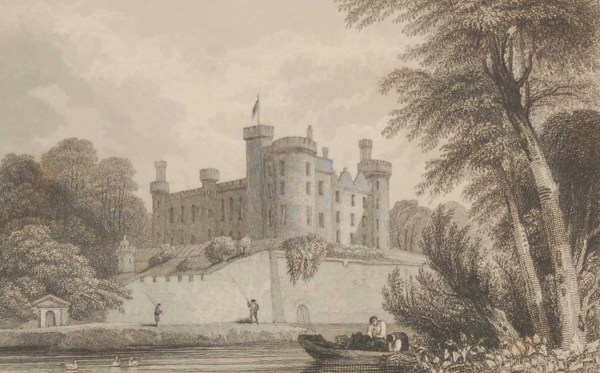 Antique print from 1832 of the Castle of Kilkenny 1832 Antique Print . The print was engraved by W Taylor and is after a drawing by Robertson.
