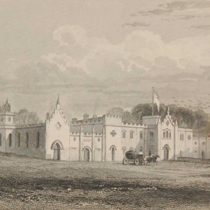 Antique print from 1832 of Jenkinstown Castle, Barony of Passadining, Co Kilkenny . The print was engraved by R Hoards and is after a drawing by Austin.