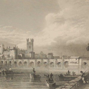 Antique print from 1832 of Thomond Gate Limerick . The print was engraved by E H Proctor and is after a drawing by William Bartlett.