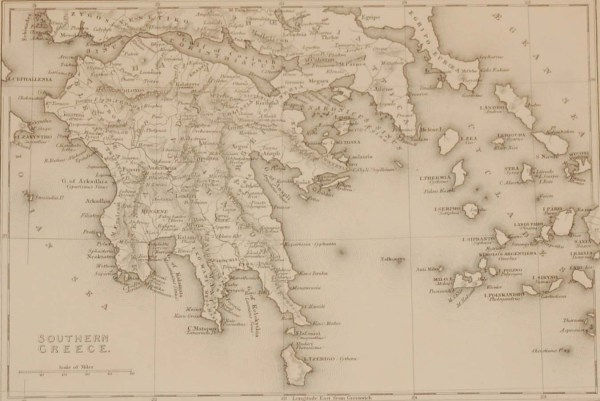 Antique map from the early Victorian period of Southern Greece. The map dates from 1840 and was drawn and engraved by J Dower, Pentonville, London.