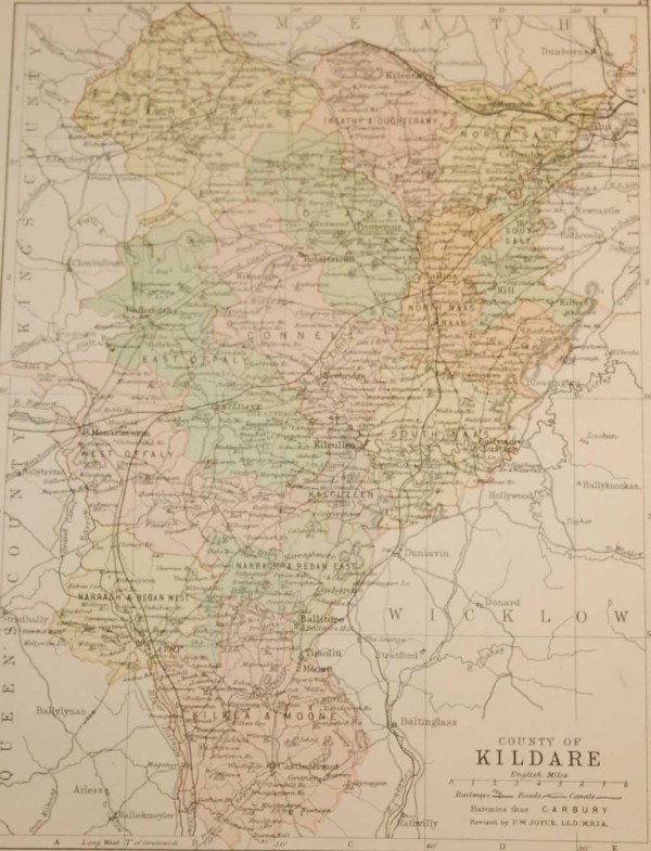 Antique map of County Kildare, Ireland, circa 1880's. The map breaks the county down into it's historical baronies.