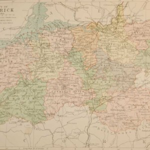 Antique map of County Limerick, Ireland, circa 1880's. The map breaks the county down into it's historical baronies.