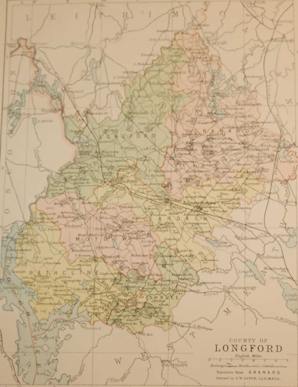 Antique map of County Longford, Ireland, circa 1880's. The map breaks the county down into it's historical baronies.