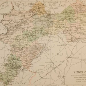 Antique map of County Offaly, Ireland, circa 1880's. The map breaks the county down into it's historical baronies.
