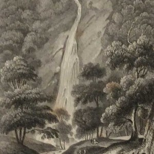 Antique print from 1832 of Powerscourt Waterfall County Wicklow. The print was engraved by H Wallis and is after a drawing by B Kirchoffer RHA.