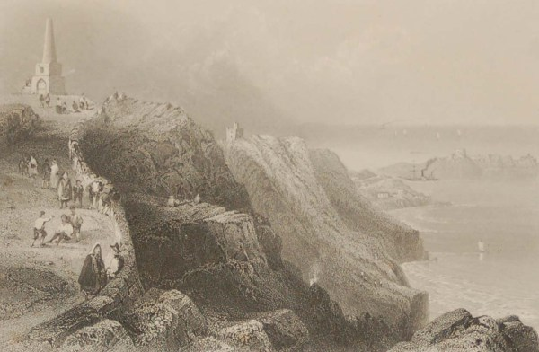 Pair of antique prints from the 1840's of Killiney Hill and Killiney Bay in Dublin.