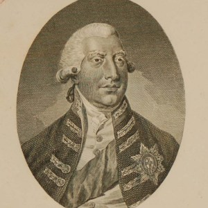 Engraving of George III as king. Bust length with tied wig, plain tie, coat with Garter star, and sash over left shoulder, titled His Britannic Majesty George III.