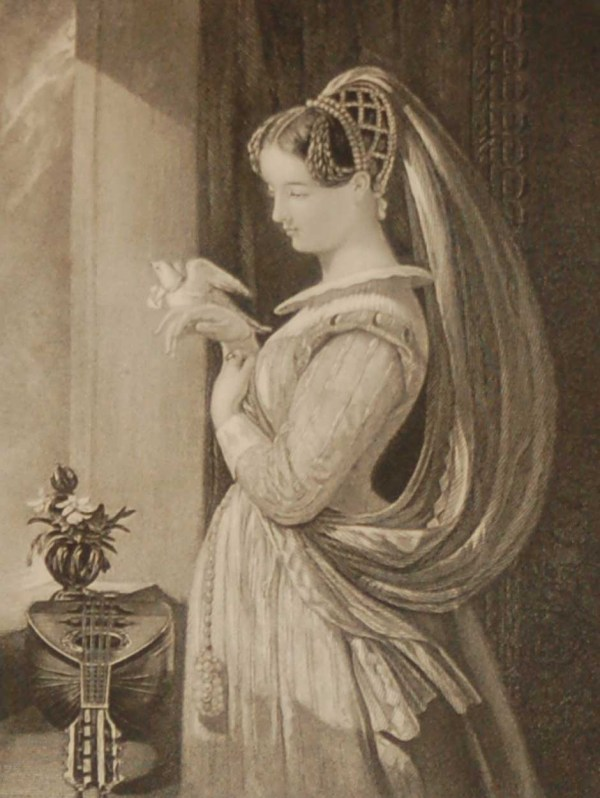 Antique Victorian print, an engraving published in 1840 after a painting by Daniel Maclise R.A., titled The Carrier Pigeon. Engraved by William Henry Egleton.