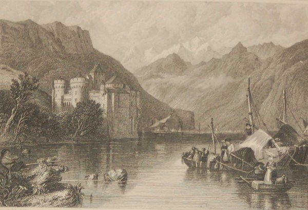 Antique Victorian print, an engraving published in 1840 after a painting by C Stanfield, titled Castle of Chillon. Engraved by R Wallis.