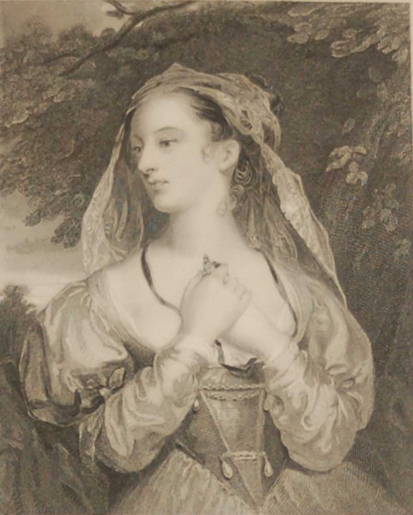 Antique Victorian print, an engraving published in 1840 after a painting by W R Faulkner, titled Helen. The work was engraved by H Robinson.