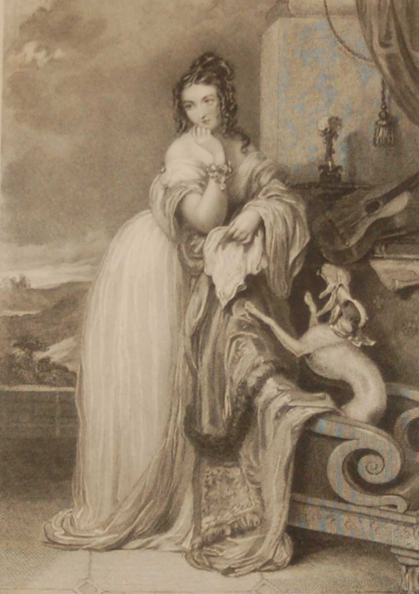 Antique Victorian print, an engraving published in 1840 after a painting by J Hayter, titled The Marquisa. The work was engraved by H T Ryall.
