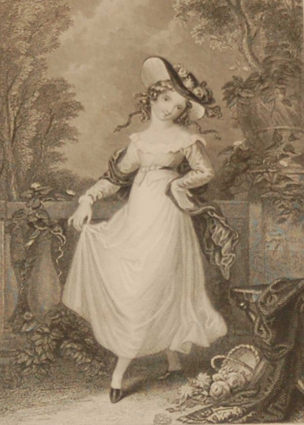 Antique Victorian print, an engraving published in 1840 after a painting by J M Wright, titled Virginia. The work was engraved by Charles Heath.