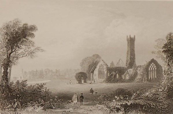 Antique prints from the 1840's of the Augustinian Abbey, Adare and Donnass Rapids near Castleconnell, County Limerick.