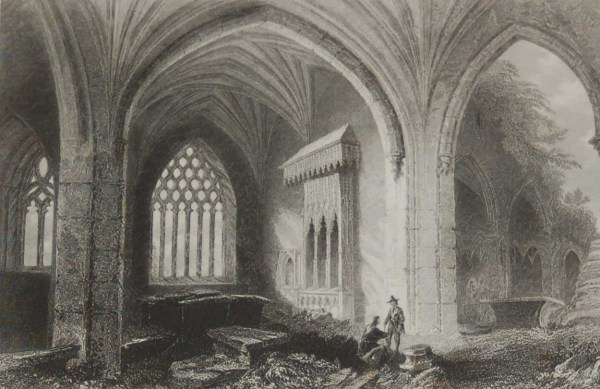 Antique prints from the 1840's of Holycross Abbey and it's interior in County Tipperary.