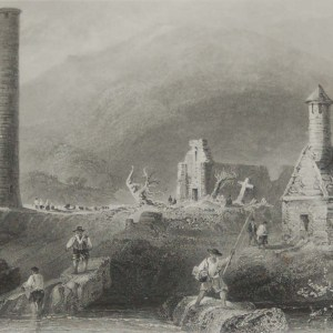 Pair of antique prints from the 1840's of Glendalough & the Round Tower Glendalough, County Wicklow.