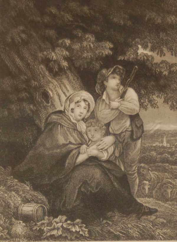 Antique Victorian print, an engraving published in 1840 after a painting by Singelton, titled The Thunder Storm.