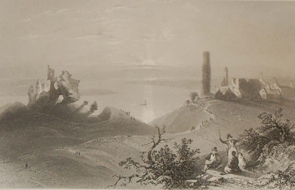 Set of three antique prints from the 1840's of Clonmacnoise in County Offaly.