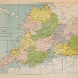 Antique map of County Clare. The map breaks the county down into it's historical baronies including Burren, Corcomroe, Inchquin, Bunratty, Moyarta, Ibricken, Tulla & Islands.