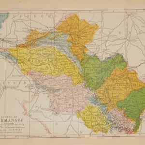 Antique map of County Fermanagh. The map breaks the county down into it's historical baronies including Clanawiley, Lurg, Tirkennedy, Magheraboy, Clanawley, Knockinny, Clan Kelly, Magherastephana.