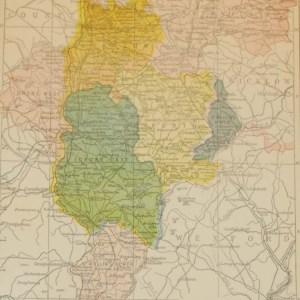 Antique map published in 1902 of County Carlow, Ireland. The map breaks the county down into it's historical baronies including Rathvilly, Carlow, Idrone West, Idrone East, Forth, St Mullins Upper, St Mullins Lower.