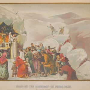 Antique print from 1902, titled, Mass on the Mountain -in Penal Days (Christmas Morning)