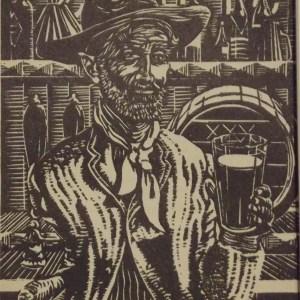Harry Kernoff Woodcut Man with a pint of porter