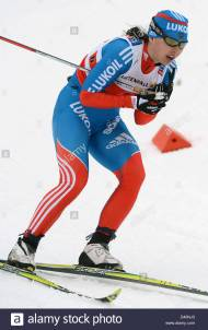 Julia Ivanova of Russia competes during the Women's 4 x 5 km Classic/Free Relay at the Nordic Skiing World Championships in Val di Fiemme, Italy, 28 February 2013. Photo: Hendrik Schmidt/dpa +++(c) dpa - Bildfunk+++