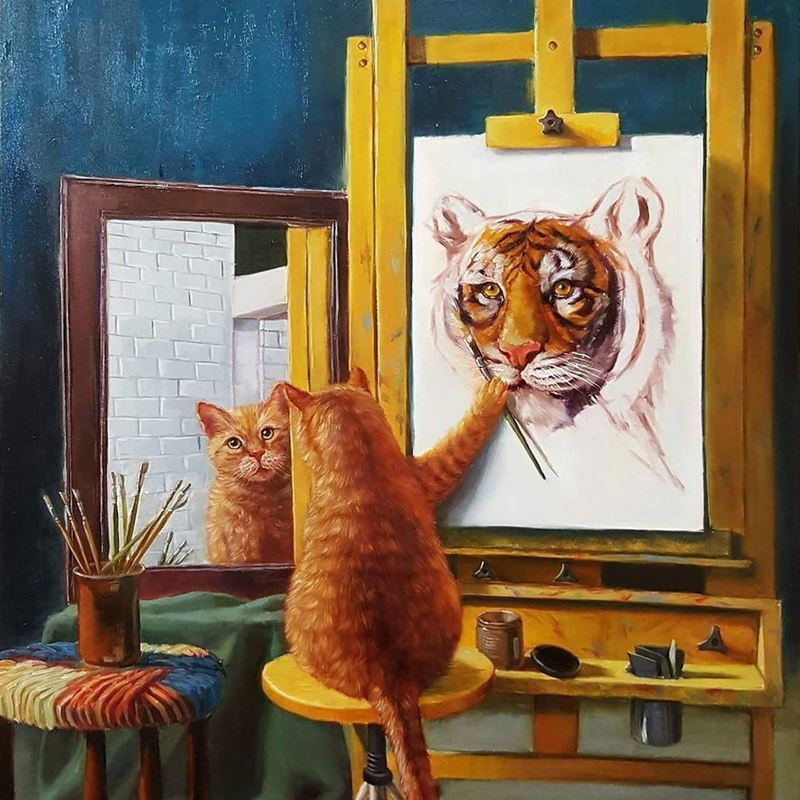 Cat painting lion