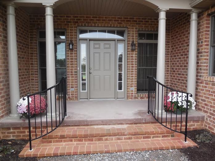 Exterior Railings Antietam Iron Works | Exterior Iron Stair Railing | Temporary | Front Step | Aluminum | Front Entrance | Fancy