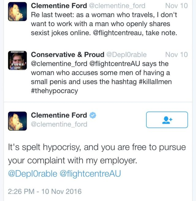 Clementine Ford tries to get another man fired