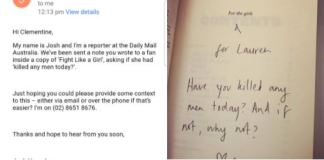 Clementine Ford signs book with message of terrorism