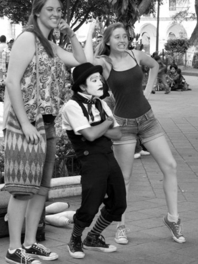 Tamagochy Mime Makes People Laugh in Antigua Guatemala by Rudy Giron