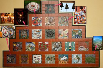 Mosaic mural at César Brañas with photos that inspires them