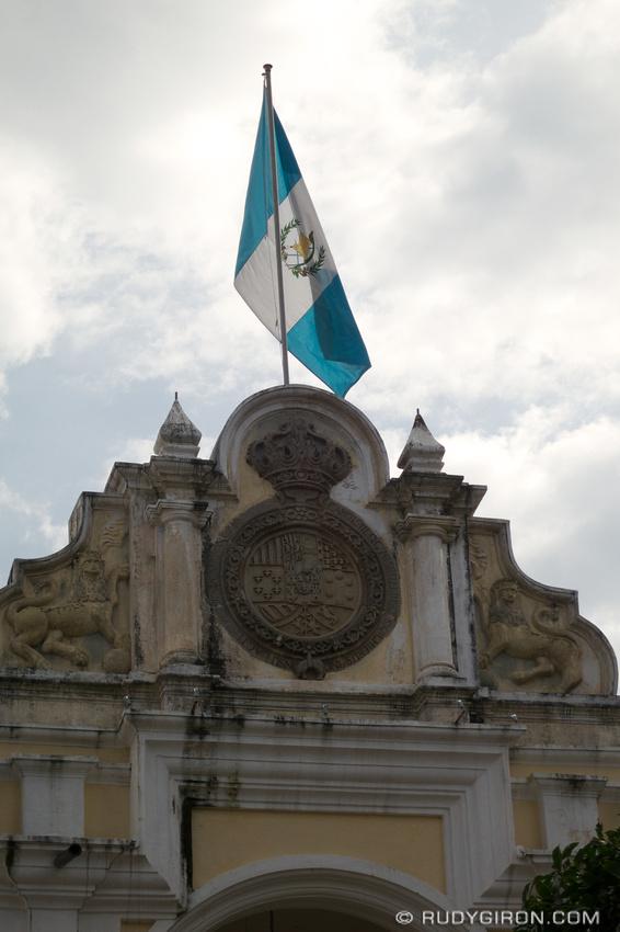 Rudy Giron: AntiguaDailyPhoto.com &emdash; Spanish Crown Emblem and Guatemalan Flag