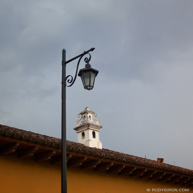 Rudy Giron: AntiguaDailyPhoto.com &emdash; Street Lamp and Cupola from Antigua Guatemala