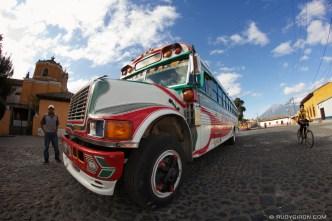 Rudy Giron: AntiguaDailyPhoto.com &emdash; Fish-eye view of a colorful bus