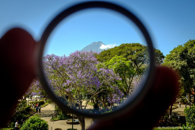 Rudy Giron: Antigua Guatemala &emdash; Framed Vista from Parque Central, Antigua Guatemala