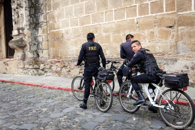 Rudy Giron: Antigua Guatemala &emdash; Policia Nacional Civil on Bicycles in Antigua Guatemala