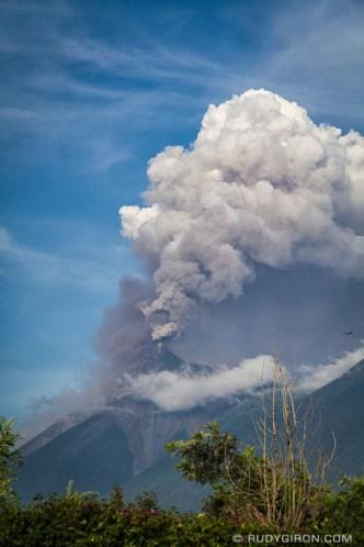 Volcano Fuego eruption as seen from Antigua Guatemala by Rudy Giron