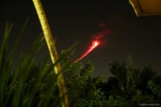 Fuego volcano eruptions at night captured from Antigua Guatemala