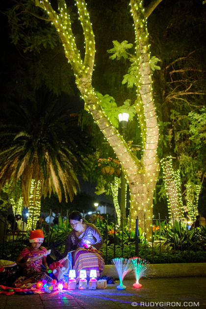 Rudy Giron: Antigua Guatemala &emdash; Christimas Lights at Parque Central of Antigua Guatemala