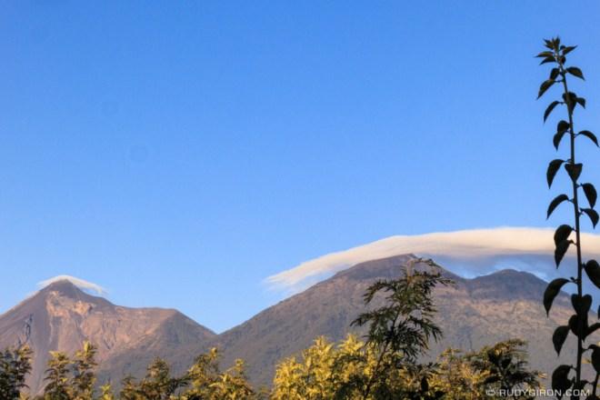 Rudy Giron: Antigua Guatemala &emdash; Sunrise over Fuego and Acatenango volcanoes