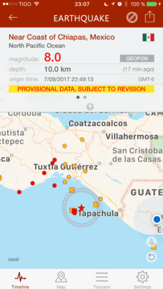 Preliminary report of 8.0 earthquake in the Mexican Pacific coast