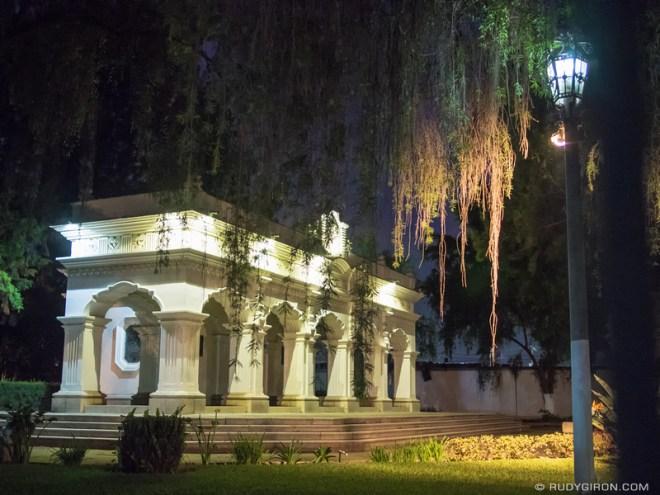 Rudy Giron: Antigua Guatemala &emdash; Monumento a Rafael Landivar in Antigua Guatemala at night