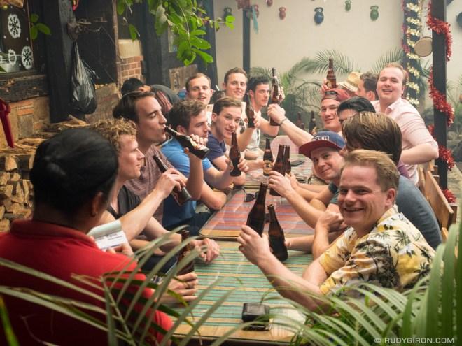 Rudy Giron: Antigua Guatemala &emdash; Tourists drinking Gallo beers in Antigua Guatemala